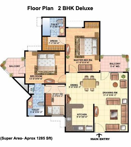 All Architectural Designing: 2 BHK DELUXE Super Area- 1285