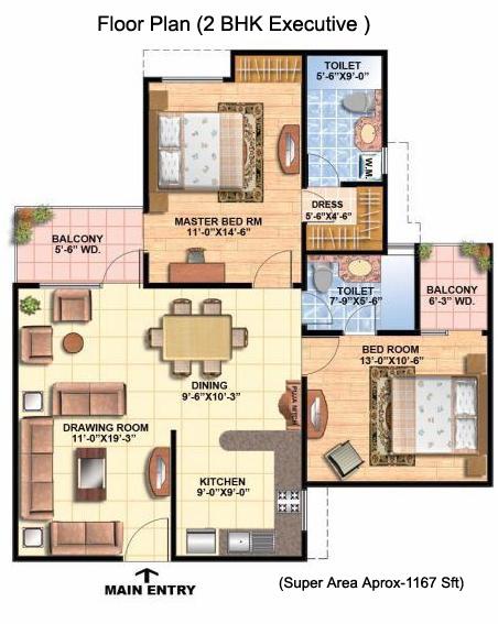 All Architectural Designing: 2 BHK Floor Plan